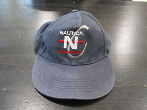 43de2bf5be0f6 VINTAGE Nautica Competition Strap Back Hat Cap Navy Blue Red Spell ...