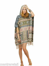 Women's Poncho Soft Natural Aztec Pattern Hooded Festivals Camping Surfing