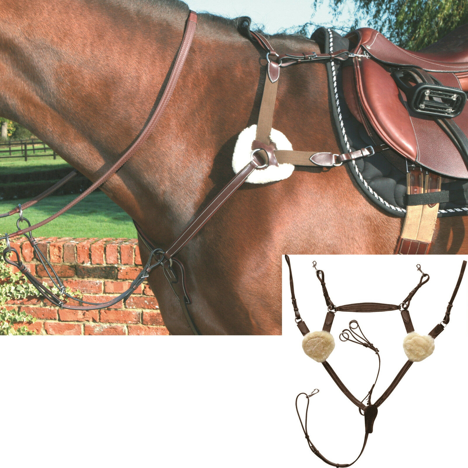 Mark Todd Deluxe 5 Point/Five Point Breastplate XFull Havana BNWT