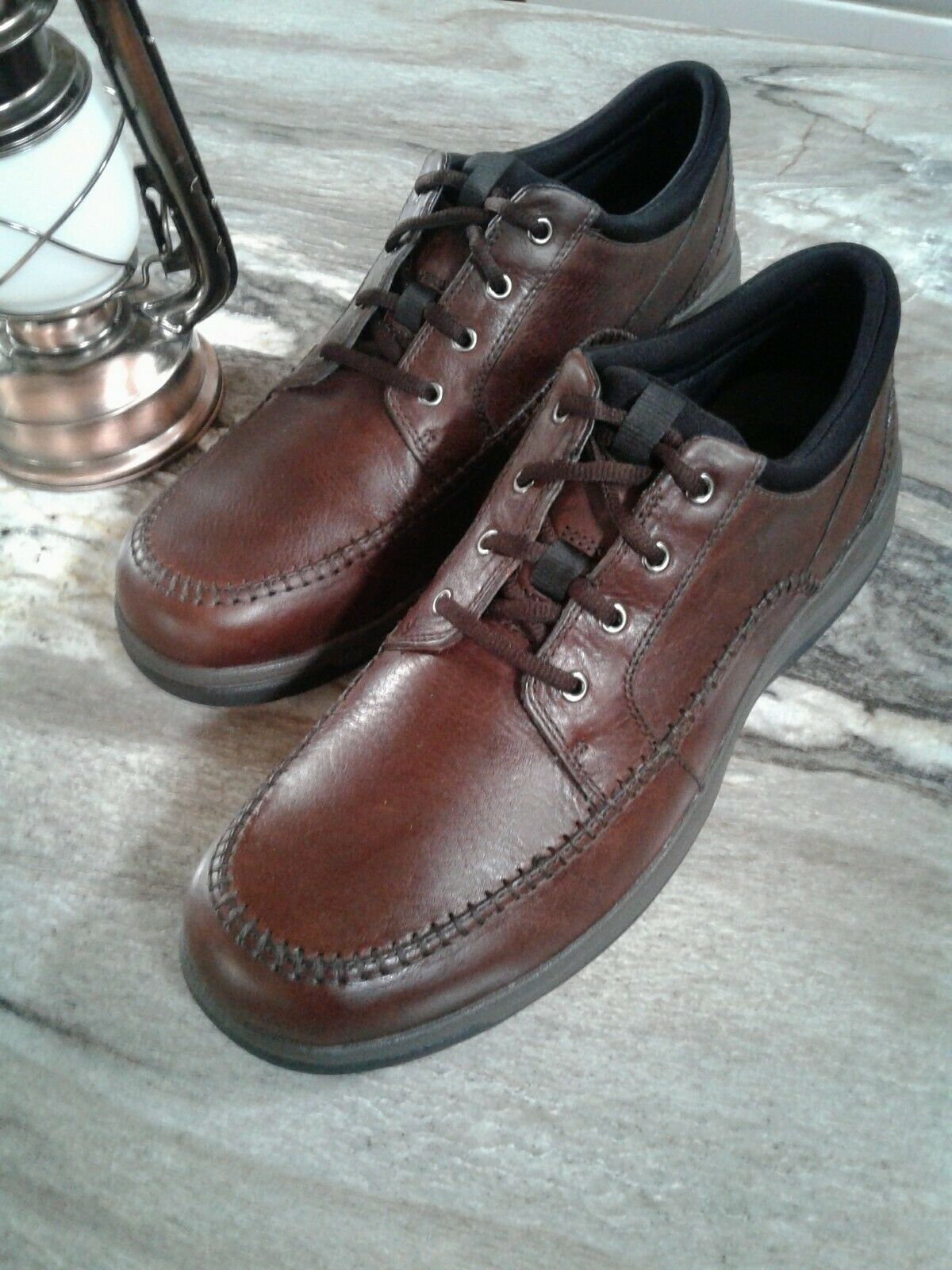 NEW   CLARKS 'Portland 2 Tie' Mens Brown Leather WhipStitched shoes Sz 12M  130