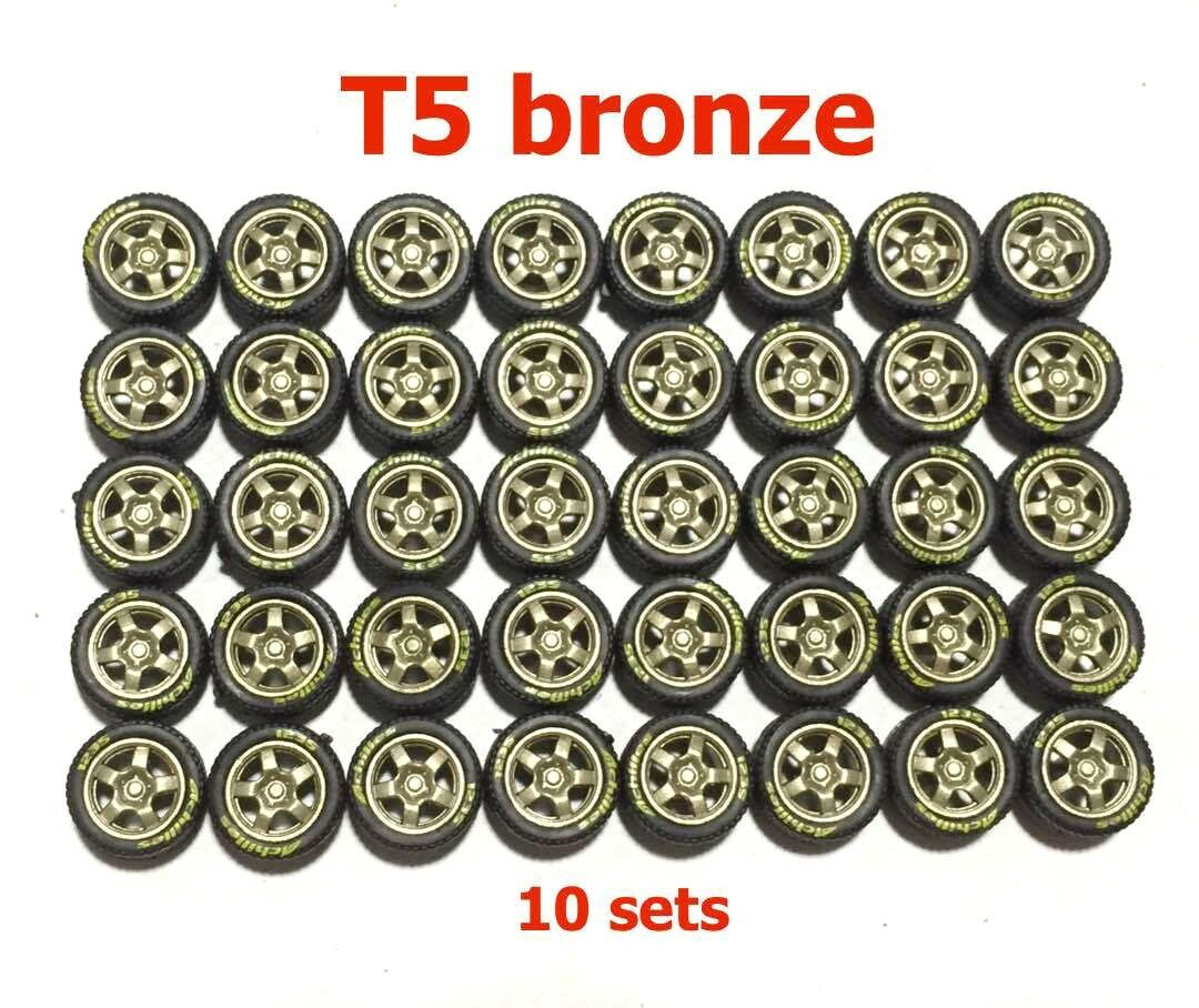 1 64 neumáticos de goma T5 Bronce Fit Hot Wheels Nissan Skyline DIECAST COCHES-Conjunto de 10