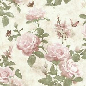 Rasch-Portefeuille-Vintage-Rose-Papier-Peint-Rose-Naturel-215007-Fleurs