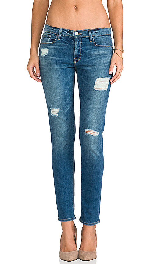 FRAME Le Garcon Slim Boyfriend Distressed Jean, bluee Jay Way - Size 26