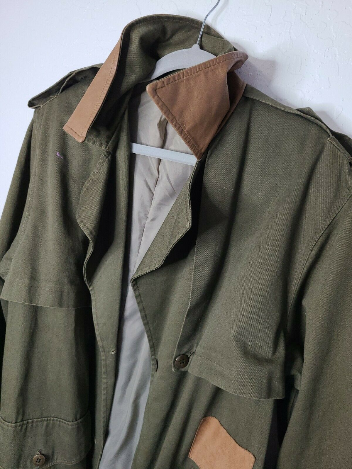 Classic Military Style Trench Coat, Olive Army Gr… - image 6