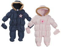Baby Girls Boys Faux Fur Trim Hooded Winter Snowsuit Pramsuit Coat Mittens Gift