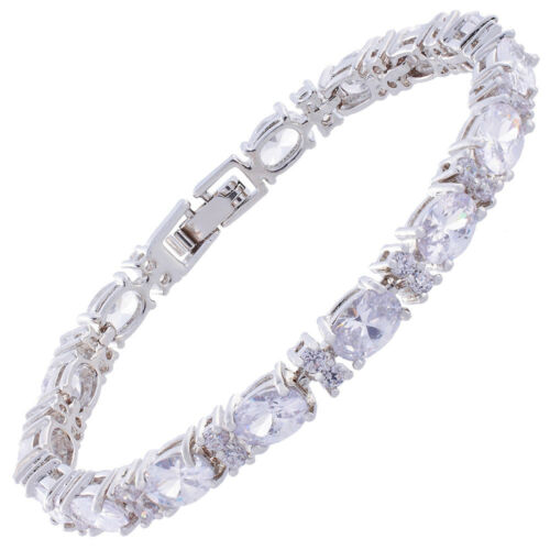 Noël Mariage Bijoux Ovale Blanc Plaqué Or Strass Cristal Tennis Bracelet
