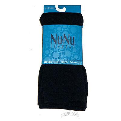 Fleece-Lined Leggings Black Opaque Footless Winter Warm Ladies Queen Sz 3X/4X