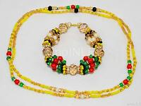 Ilde Santeria Orisha Bracelet & Collar Idde Mazo Oshun Ibu Akuaro Glass&coral