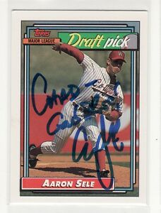 AARON SELE COLLEGE ROOKIE 1992 TOPPS #504 PERSONALIZED  AUTOGRAPHED CARD