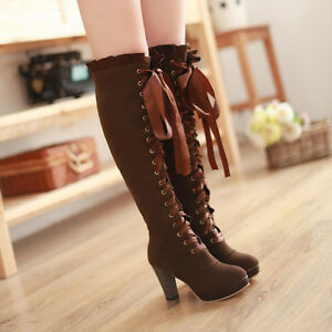 2018-New-Womens-Lace-Up-High-Heel-Riding-Fashion-Winter-Knee-High-Boots-Shoes-Sz