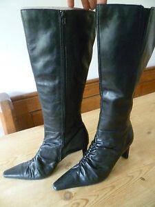 TAMARIS-SIZE-38-UK5-LADIES-BLACK-LEATHER-KNEE-HIGH-BOOTS-GOOD-CONDITION