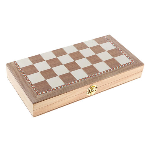 Wooden Chess Set 2 Type Chessman 11.4 Inch Foldable Standard Checkerboard
