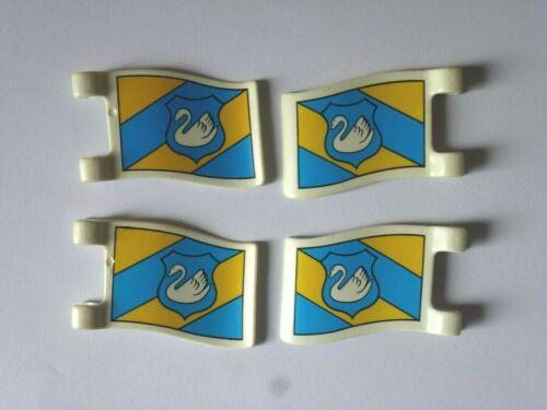 Playmobil 4x Fahne Wimpel Schwan blau gelb Ritter Ritterburg 450