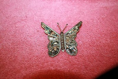 Vintage Sterling Silver Butterfly Abalone Shell Inlay Pin Brooch Signed 925