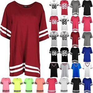 114300d8e1 Image is loading Womens-Baggy-Baseball-Mini-Dress-Tops-Sleeve-Stripe-