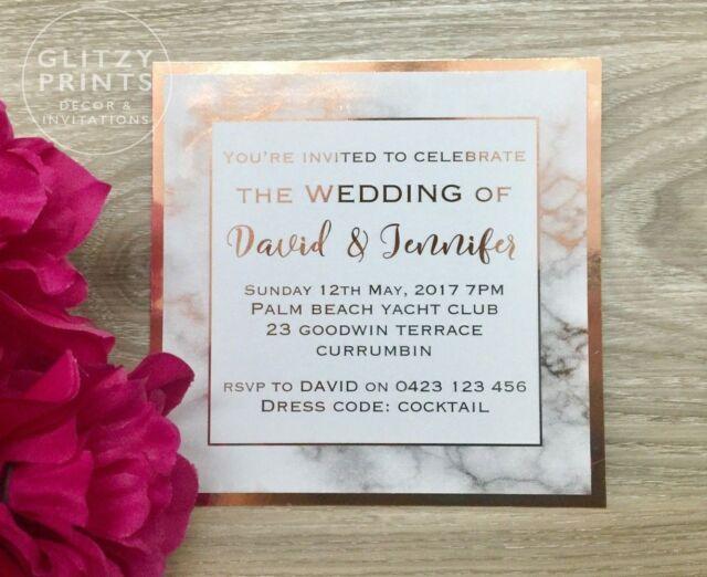 Rose Gold Foil Marble Printed Wedding Invitation Engagement