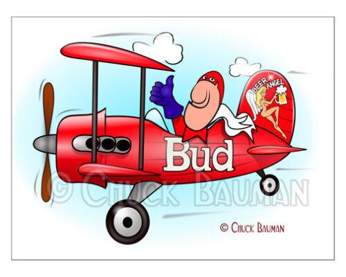 Fridge Magnet Bud Man Bud Beer Baron Flies Again Biplane beer bar art decor