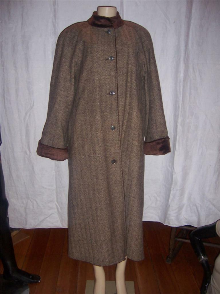 Harve Bernard Brown Tweed Womens Full Length 100% Wool Coat  Size 16 NEW