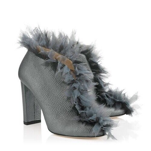 NIB Jimmy Choo 'Ladine' 100mm Metallic Leather Feather Ankle Boots 35.5 5.5  995