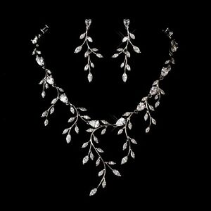 Delicate Bridal CZ Necklace & Earrings Flower Vine Jewelry Set Silver Plated