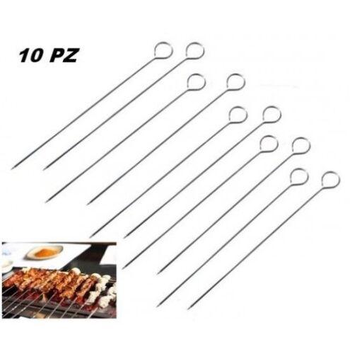 ds 10 Pz Spiedini In Acciaio Per Barbecue Bbq Piastra Cucina Lunghezza 35Cm dfh