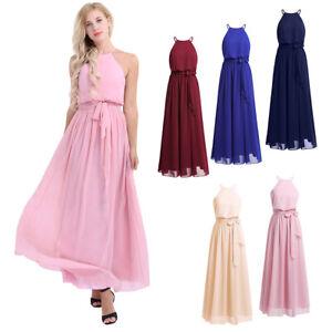 US Women's Halter Chiffon Wedding Maxi Dress Evening Party Bridesmaid Long Dress