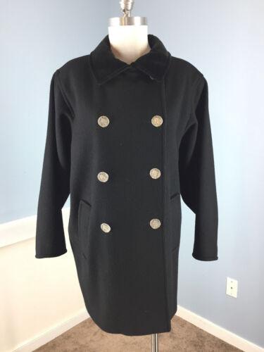 By double Manteau noire en laine poitrine Searle Steve L excellent 4T6wqf76