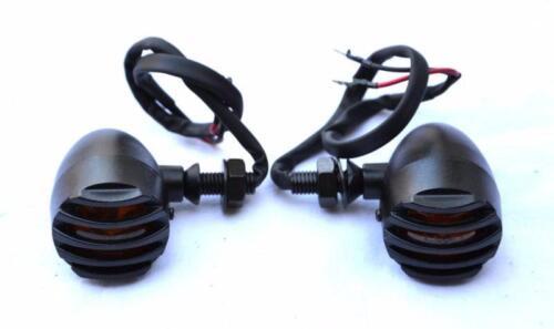 Paire de Clignotants en Métal avec grilles Noir pour custom harley shadow VN