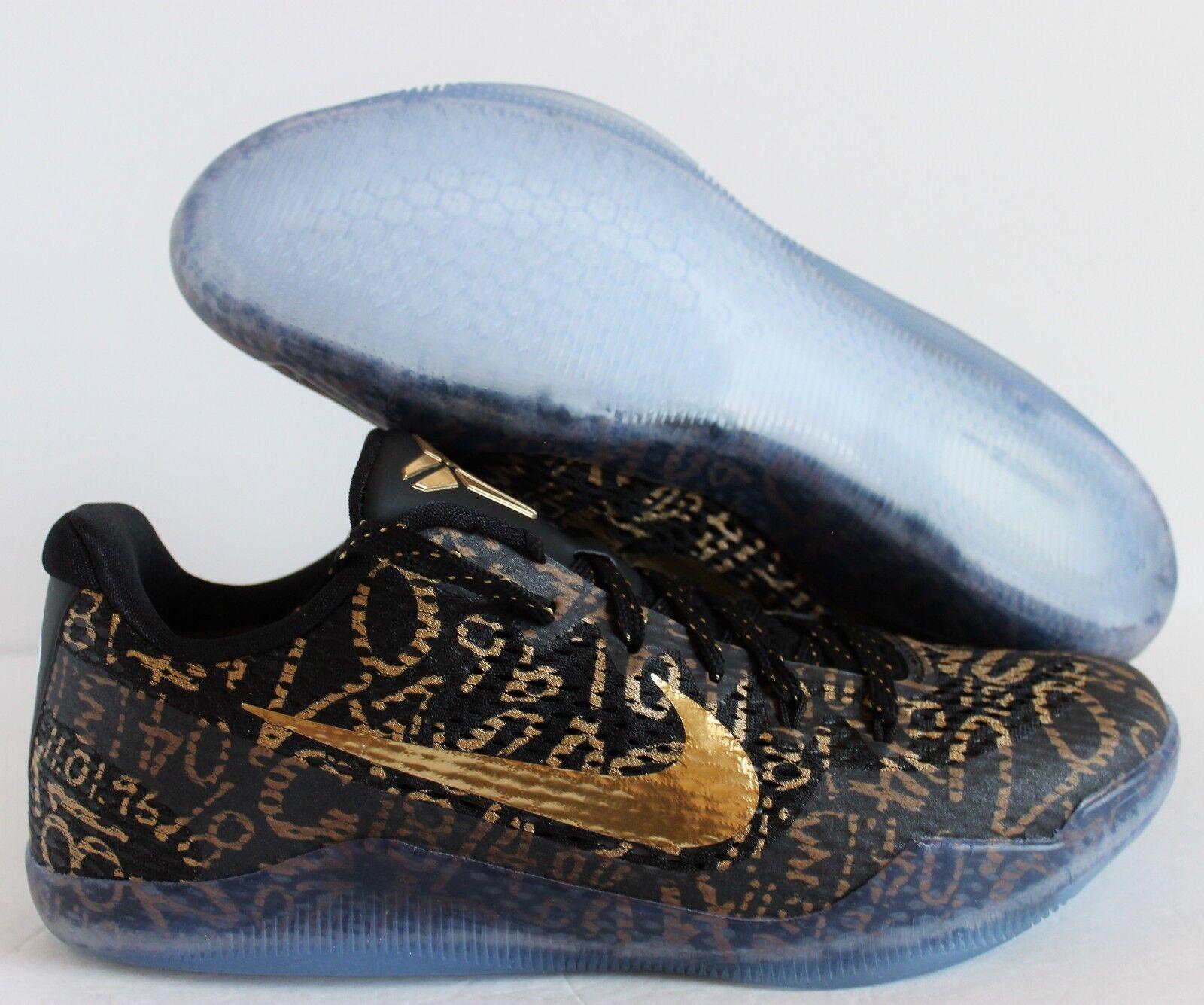 Nike kobe xi 11 id mamba giorno nero-gold sz 10 [865773-991]