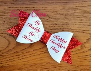 "Girls Handmade my daddy my hero happy fathers day glitter 4/"" Hair bow clip"