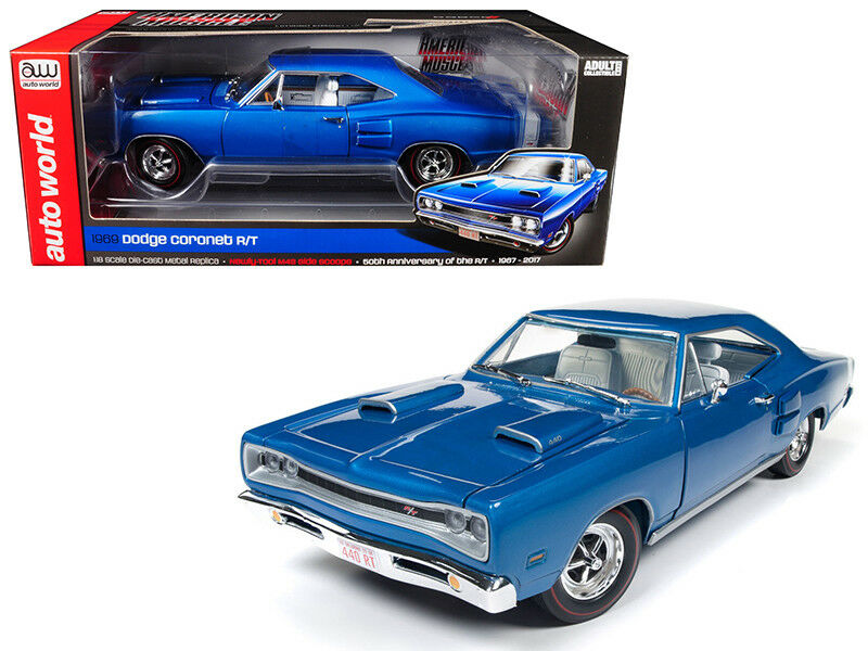 Auto World 1 18 50th Anniversary of 1969 Dodge Cgoldnet R T Diecast bluee AMM1116