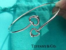 Tiffany & Co Elsa Peretti Sterling Silver Double Open Heart Bangle Bracelet
