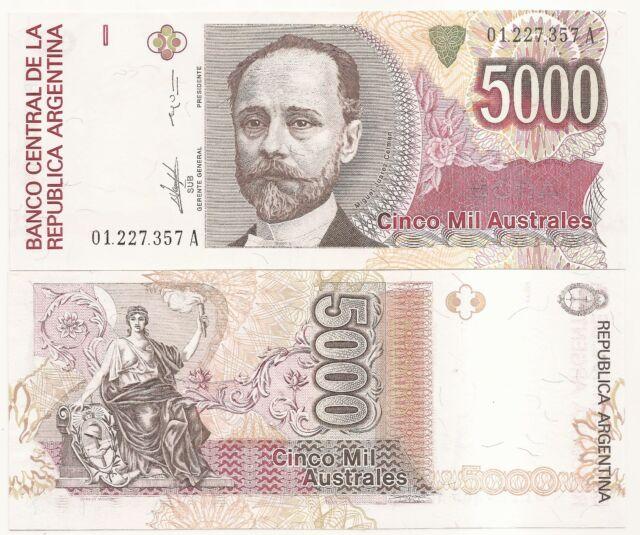 ARGENTINA AUSTRALES 5000 ND(1989) P-330 UNC B-2864 O-32 SIGN.PAMPILLO- G.VAZQUEZ
