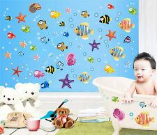 Colorido pez nemo estrellas mar infantil Pared Pegatinas Cuarto del Bebé Baño