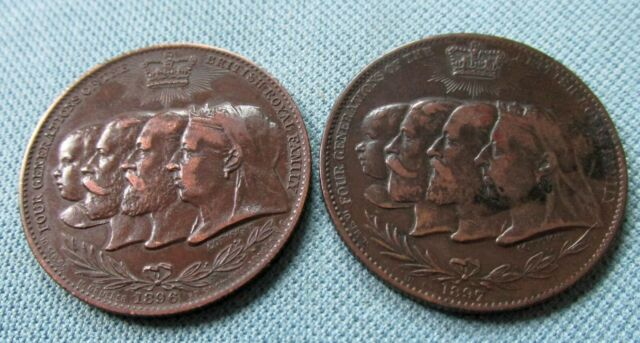 Lot of 2 Queen Victoria Royal Family Bronze Medals Tokens 1896 1897 Jubilee