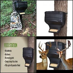 Details about Feed Station Deer Feeder Basic Gravity 40lbs Capacity Tree  Mounting New Black
