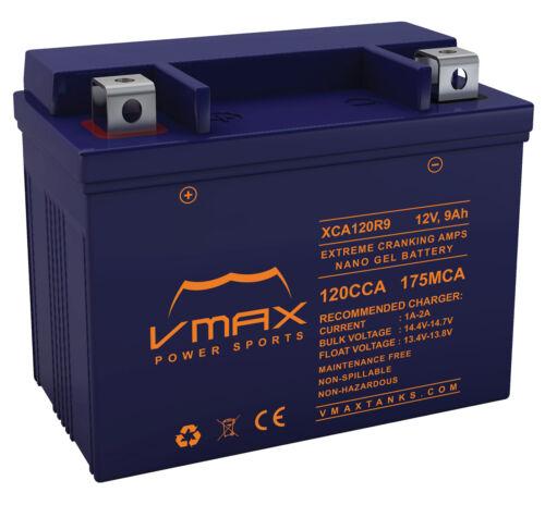 VMAX XCA120R9 ATV 12V 9AH NANO GEL BATTERY YTX9-BS REPL FOR ARCTIC CAT