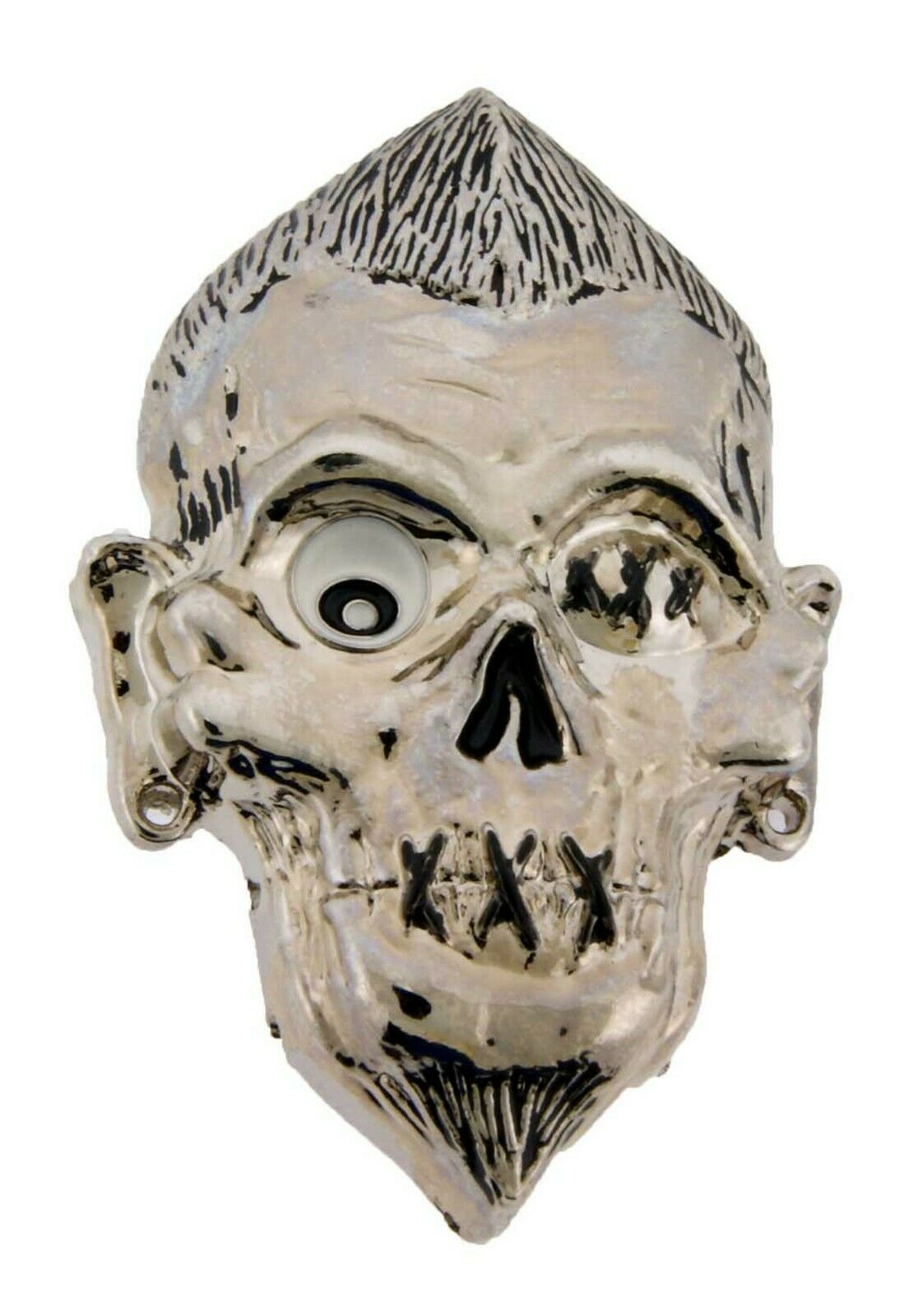 Skull Belt Buckle Secret Compartment Silver Metal Halloween Gothic Tattoo Style