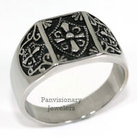 Stainless Steel Masonic Knights Templar Coat Of Arms Ring Size 8 9 10 11 12 13