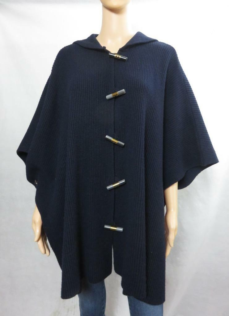 Marc Jacobs Normandy Normandy Normandy bluee Wool Knit Hooded Poncho Cape Sweater Size O S bee6ce