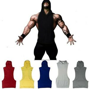 Men-039-s-Fitness-Gym-Solids-Bodybuilding-Workout-Cotton-Sleeveless-Hoodies-Tank-Top