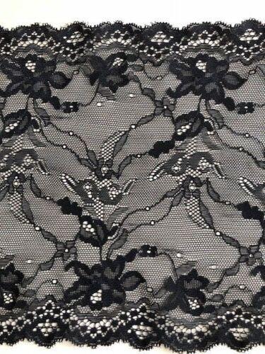 """Laverslace qualité motif fleuri noir large Stretch Tulle Dentelle 8/""""//20cm à coudre Goth"""