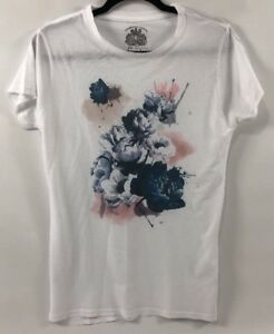 BOLONGARO-TREVOR-Women-039-s-White-T-shirt-Top-Floral-Print-size-Large