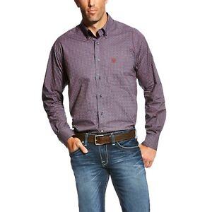 shirt Ariat Print Ombre mouw lange Button met Anniston Heren Blauw front sdtQrhCx