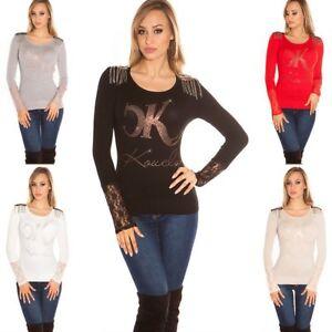 Maglione-leggero-donna-maglia-manica-pizzo-rock-mostrine-catene-strass-nuovo