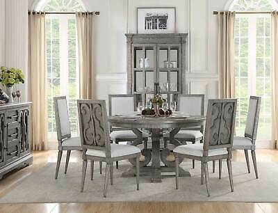 New Traditional Distress Gray Dining Room 7 Piece Round Table Chairs Set Icb5 Ebay