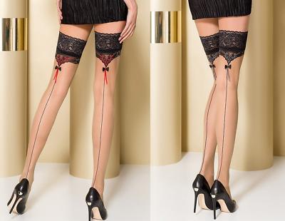 Bas Sexy Autofixants Beige Couture & Motif Jarretière Passion Eroticline (st105)