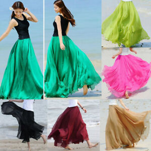 Women-Boho-Double-Layer-Long-Maxi-Dress-Chiffon-Sundress-Summer-Lady-Beach-Skirt