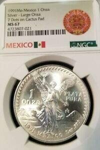 1991-MEXICO-SILVER-LIBERTAD-LARGE-ONZA-7-DOTS-ON-CACTUS-PAD-NGC-MS-67-HIGH-GRADE