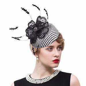 Womens Sinamay Raffia Fascinator Cocktail Lace Hat Wedding Kentucky Derby T245